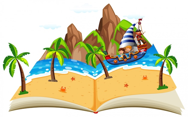 Pirate boat with children pop up book
