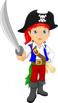 Пиратский мальчик держит меч