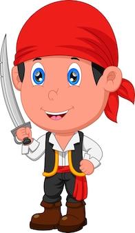 剣を持ってポーズをとる海賊少年