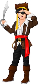 Pirate boy posing and holding a sword