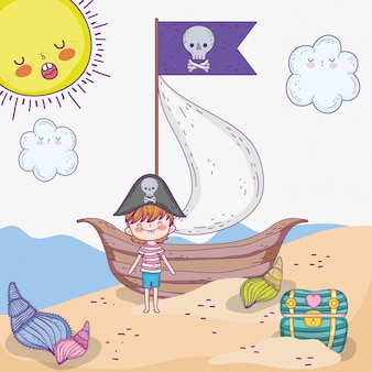 Pirate boy with ship and coffer with sun