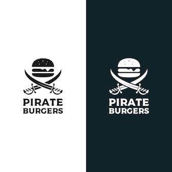 海賊ハンバーガーロゴデザインベクトルイラスト