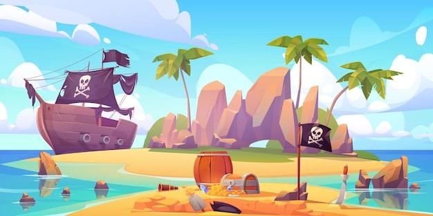 해적은 섬 해변에 보물 상자를 묻습니다.