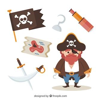 Carattere del capitano del pirata con gli elementi
