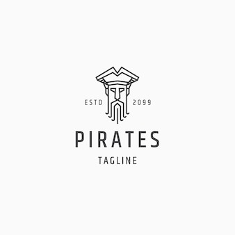 해적 선장 라인 아트 로고 아이콘 디자인 서식 파일 평면 벡터