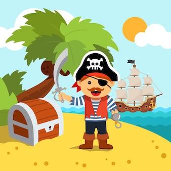 Пиратский капитан на берегу острова с сундуком с сокровищами