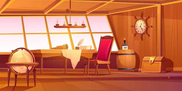 Pirate captain ship cabin interior