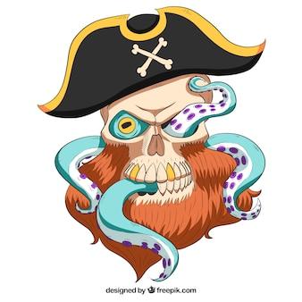 Фон пиратского черепа капитана с осьминогами
