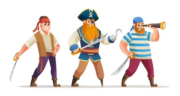Pirate captain and soldiers holding sword character set