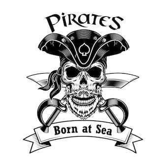 해적 선장 벡터 일러스트 레이 션. 교차 기병대와 바다 텍스트에서 태어난 빈티지 해적 모자에 해골.