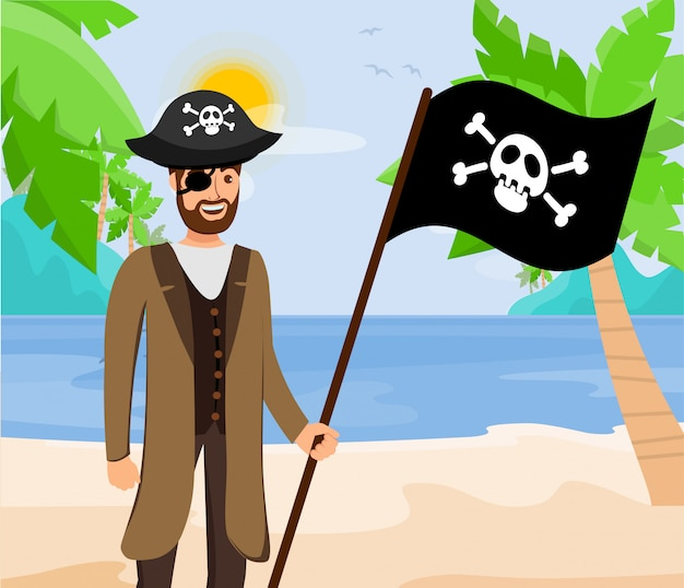 Pirate captain with black flag flat illustration