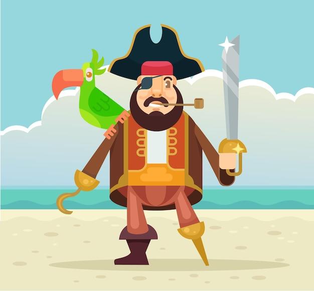 オウムのキャラクターを持つ海賊船長