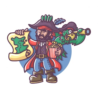 Pirate captain with parrot holding map
