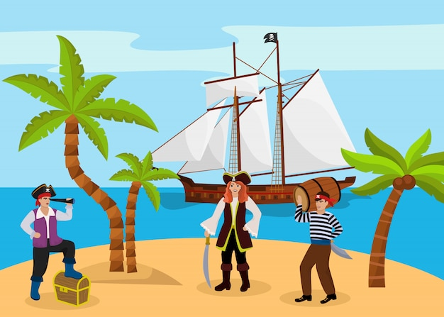 Pirate captain woman and man carries rum character bandit team found treasure chest flat vector illustration. tropical island palm tree beach.