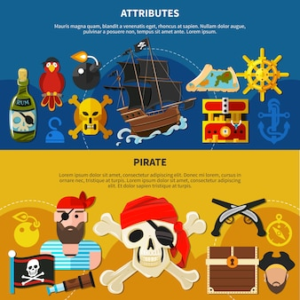Pirate cartoon banner set with bearded sailor in bandana with eye patch illustration