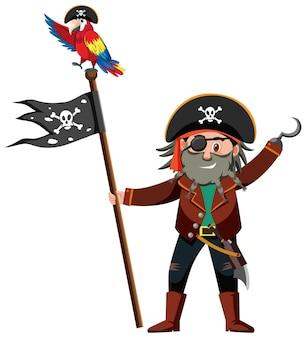 Пиратский мультипликационный персонаж капитана крюка, держащего веселого роджера, изолированного на белом фоне