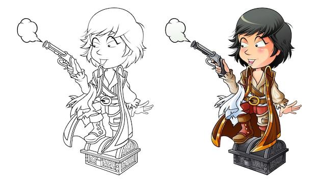 Пиратская мультяшная раскраска для детей
