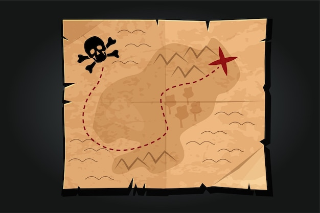 Pirate cartoon vintage paper treasure map with a skull. way or road to find the pirate treasure.