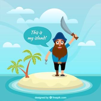 섬에 해적 캐릭터 배경