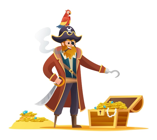 Pirate character holding sword with parrot and treasure cartoon character