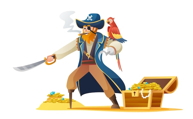 Pirate character holding sword with parrot and treasure