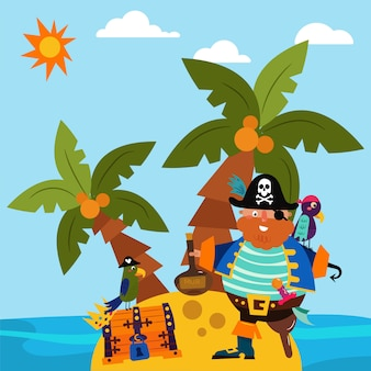 Pirate character male standing alone island, parrot bird flat vector illustration. insular treasure chest, palm tree tropical beach and ocean side.