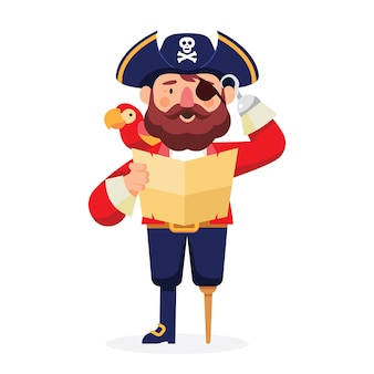 Pirate character with parrot and map