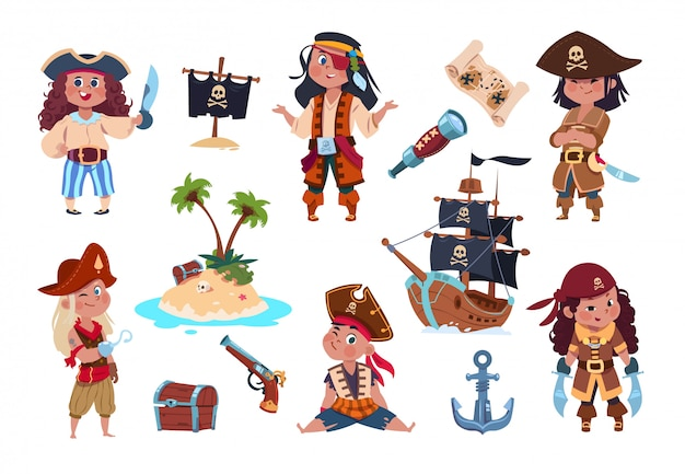 Пиратские персонажи. мультяшный дети пираты, моряки и капитан вектор изолированных набор