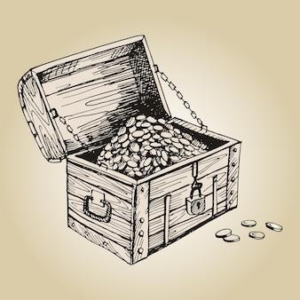 해적 가슴. 자물쇠와 금화가 있는 골동품 나무 상자.