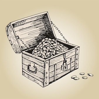 Pirate chest. antique wooden chest with lock and gold coins.