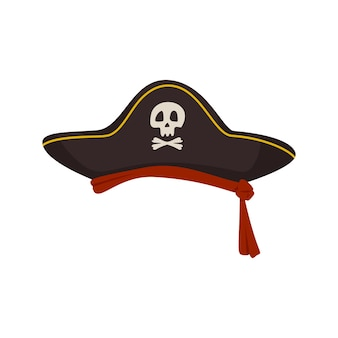 仮面舞踏会のカーニバルや休日のための髑髏と骨のお祝いの頭飾りが付いた海賊のコックドハット