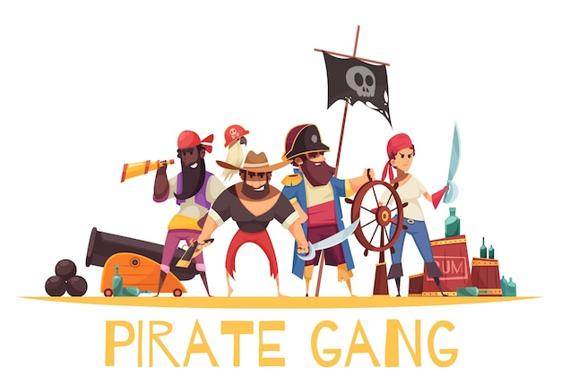 Pirate  composition with cartoon style human characters of pirates with munitions and weapons with text