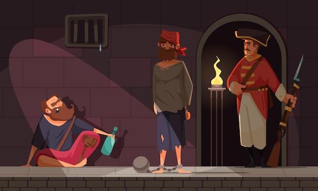 감옥 셀의 실내 전망과 죄수 경비원이 있는 투옥된 해적의 캐릭터가 있는 해적 구성