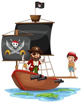 Пиратская концепция с персонажем мультфильма мальчика, идущим по доске на изолированном корабле