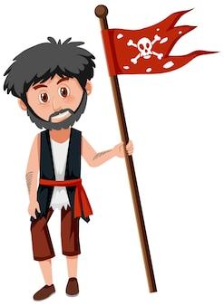 Пиратская концепция с мужчиной, держащим веселого роджера, изолированного на белом фоне