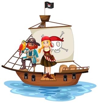 Concetto di pirata con un personaggio dei cartoni animati di una ragazza che cammina sull'asse sulla nave isolata