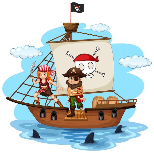 Concetto di pirata con un personaggio dei cartoni animati dell'uomo che cammina sull'asse sulla nave isolata