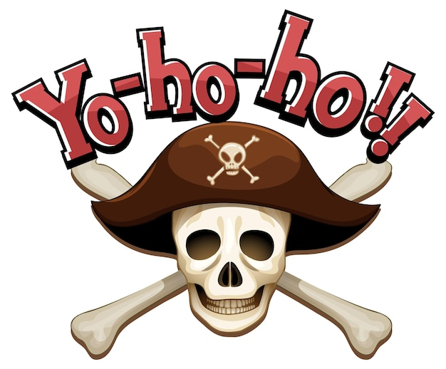 Pirate concept with yo-ho-ho word banner and skull crossbones