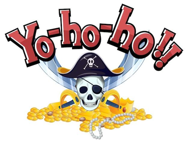 Concetto di pirata con banner di parole yo-ho-ho e ossa incrociate di teschio