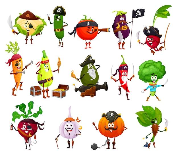 Pirate, corsair and buccaneer vegetable cartoon characters