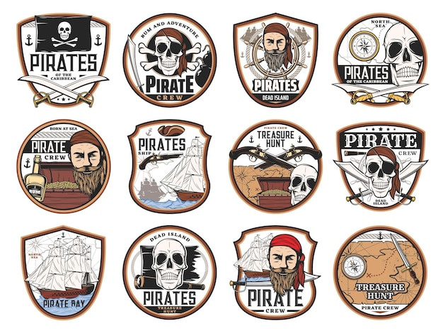 Pirate and corsair icons with vector skulls, captains, ships, treasure map and chest. pirate black flags, eye patches, guns and swords, sail boat, helm, compass, rum and spyglass isolated badges