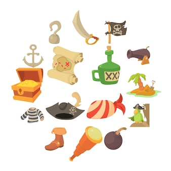 Pirate culture symbols icons set, cartoon style