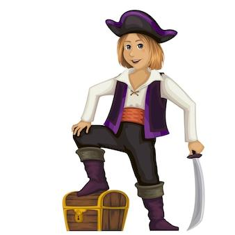 Пират. милый маленький мальчик в карнавальном наряде. Premium векторы
