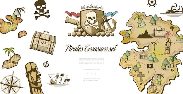 Пират, коллекция элементов с племенной маской, закрытый сундук, затонувший корабль, компас, пушка, якорь, остров кракен с путем к сокровищам, иллюстрация