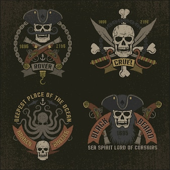 Pirate emblem in grunge style