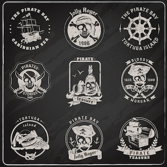 Pirate emblems blackboard chalk set