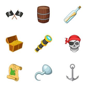 Pirate equipment set, cartoon style