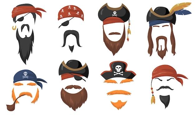 カーニバルフラットアイテムセットの海賊フェイスマスク。漫画の海の海賊の帽子、旅のバンダナ、あごひげと煙のパイプの分離ベクトルイラストコレクション。パーティーアクセサリーとヘッドコスチュームのコンセプト