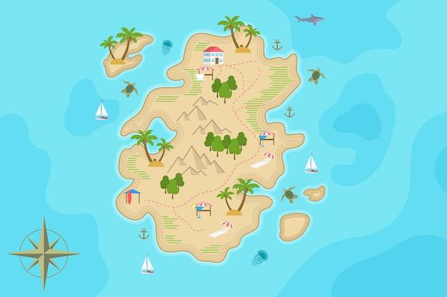 Карта острова сокровищ пиратской фантазии