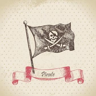 Пиратский флаг с черепом. рисованной иллюстрации
